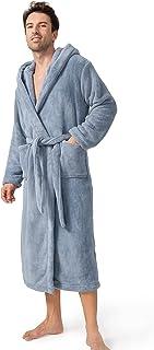 DAVID ARCHY Men's Hooded Robe Ultra Soft Coral Fleece Microfiber Bathrobe