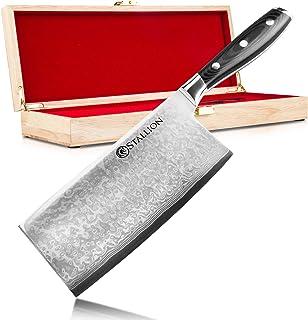 Stallion Damastmesser Wave Chinesisches Kochmesser - Messer aus Damaststahl in Edler Geschenkbox Freunde schöner Messer