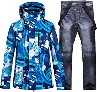 Ski Suit, Wear Men's Snow Suit Snowboarding Clothing Waterproof Windproof Winter Ski Suit Sets Jackets Bibs Snow Pants,Picture Jacket Pant,XXXL