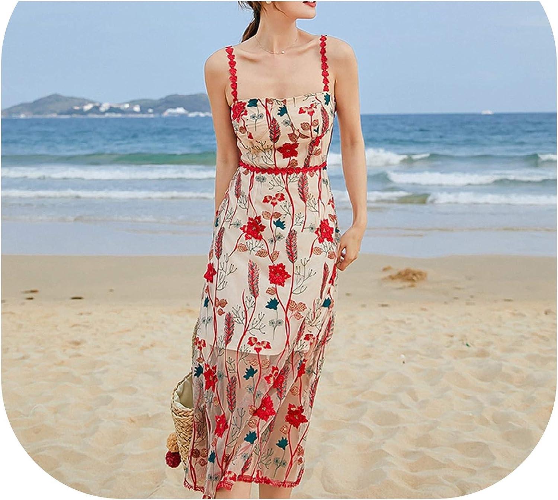 BarryStory Summer Dresses Casual Retro Slim Midi Dress Women Sexy Halter Sling Beach Dress Red Embroidered Dress Female