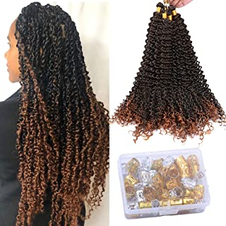 Fani Passion Twist Hair 20 Inches Synthetic Water Wave Twists Crochet 6 Packs Hair Bundles for Braiding Hair Extensions (T1B/30)