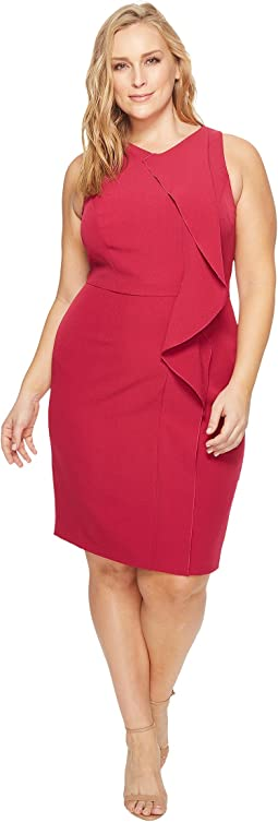 Adrianna Papell - Plus Size Crepe V-Neck Sheath Dress