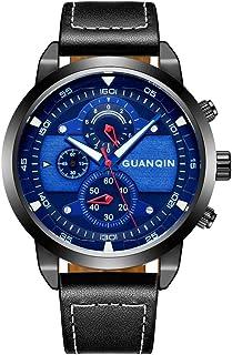 GUANQIN ساعة للرجال كوارتز رياضية مضيئة ضد الماء جلد طبيعي للرجال ساعة يد عادية كرونوغراف + صندوق