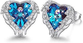 Caperci Angel Wings Heart Swarovski Crystal Stud Earrings for Women, Jewelry Gifts for Her