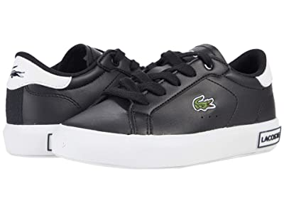Lacoste Kids Powercourt 0721 1 SUC (Little Kid) (Black/White) Kid