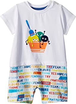 Fendi Kids Short Sleeve Ice Cream Romper w/ Word Print Shorts (Infant)