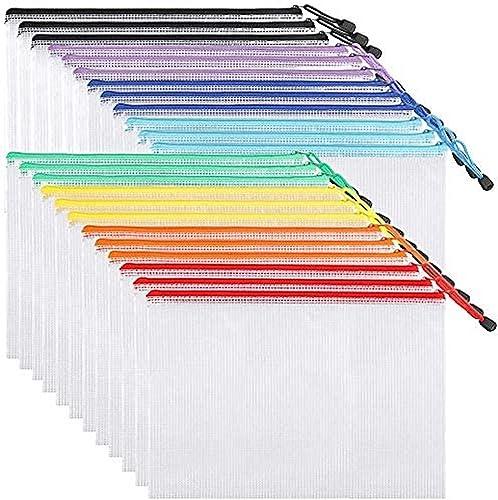 EOOUT 24pcs Mesh Zipper Pouch Document Bag, Plastic Zip File Folders, Mesh Zipper Bags, Letter Size, A4 Size, for Sch...