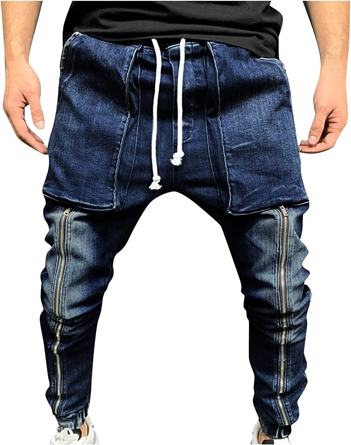 aihihe Mens Baggy Jeans Loose Fit Straight Wide Leg Stitching Denim Pants Relaxed Fit Trousers Streetwear