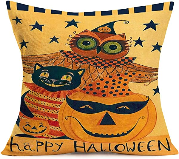 Smilyard Happy Halloween Throw Pillow Covers Funny Pumpkin Owl And Black Cat Rustic Farmhouse Pillow Cover Cotton Linen Animal Decor Cushion Cover Home Decor Sofa 18x18 Inch AH 17
