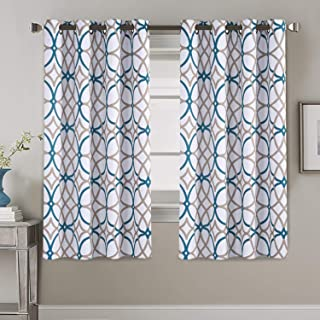 Thermal Insulated Room Darkening Curtains for Living Room Blackout Window Treatment Grommet Panels for Bedroom/Dining Room, Teal and Taupe Geo Pattern - 2 Panels - 52 by 63 inch Each Panel