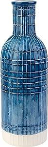 KASA Vaso da Fiori in Ceramica Ruvida, da Decorazione, Colore Blu e Bianco