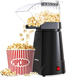 HIRIFULL Hot Air Popcorn Machine, Household Popcorn Maker, 1200W Electric Popcorn Popper, No Oil, with Measuring Cup and Removable Lid, ETL Certified, BPA-Free, Great for Family Parties, Black