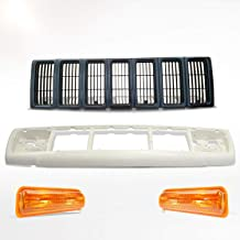 Make Auto Parts Manufacturing Set of 4 Grille Kit with Header Panel and Parking Light Assemblies For Jeep Cherokee 1997 1998 1999 2000 2001 - CH2520127 CH2521127 CH1200208 CH1220115