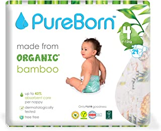 PureBorn Single Pack Nappy for 7 to 12 kg, Size 4, Pack of 24