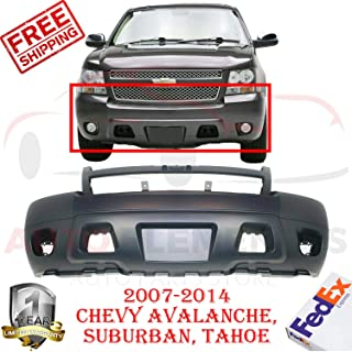 New Front Bumper Primed Plastic Fits 2007-2014 Chevy Avalanche Suburban 1500 2500 Tahoe LS LT LTZ Sport Utility With Fog Light & tow Hook Hole Direct Replacement GM1000817 25814570