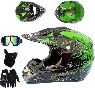 CCZC Motocross Helm mit Brille Handschuhe Maske, Motorrad Crosshelm Schwarz Grün Off Road Helm Motorradhelm Schutzhelm Kit Full-Face MTB Helm für Downhill BMX Sicherheit Schutz ATV