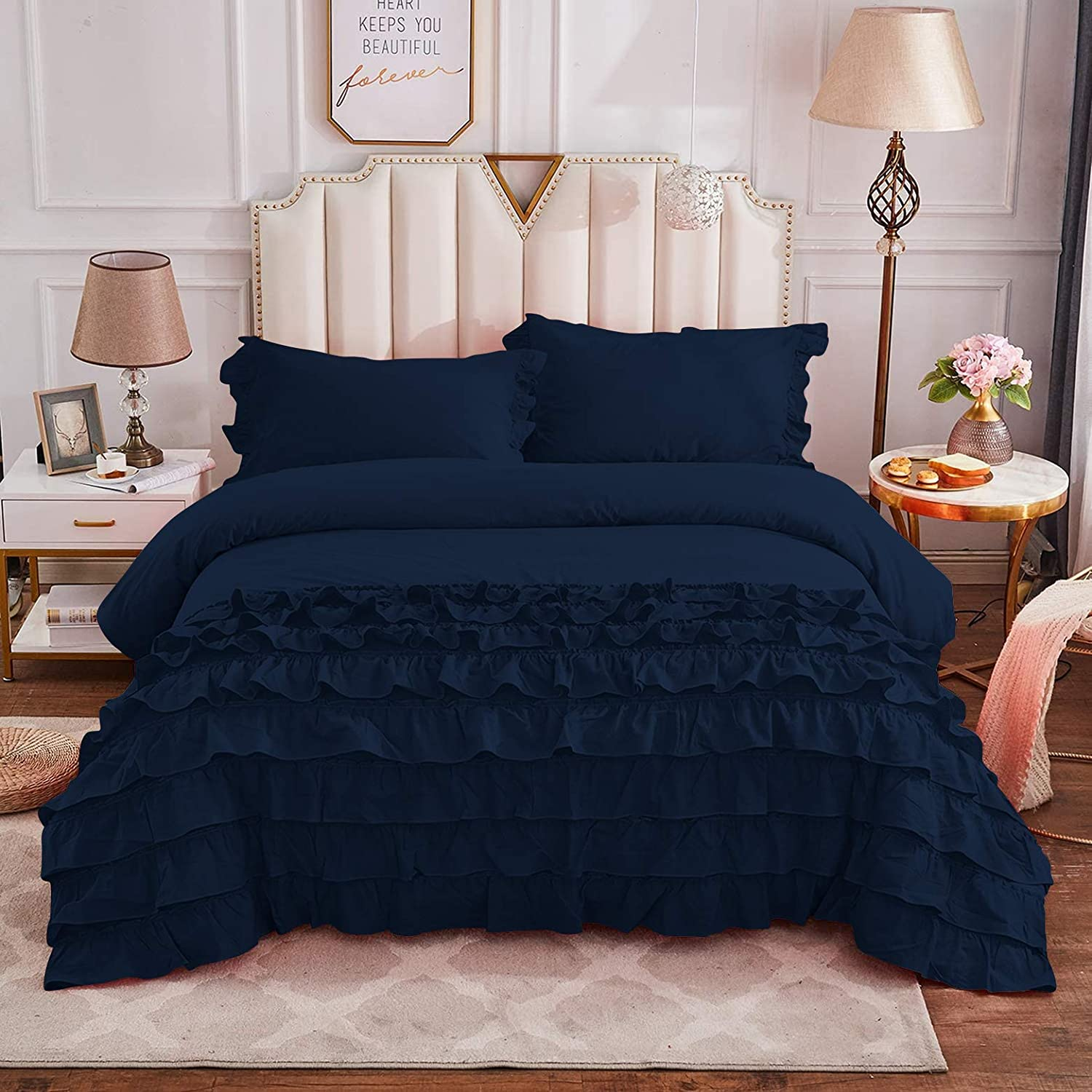 2021 Silver Cotton Full Queen Max 68% OFF Size Ruffled Vintage Bedding Cut Girls