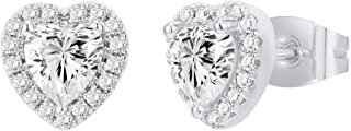 PAVOI 14K Gold Plated Sterling Silver Post Brilliant Round Faux Diamond Halo Earrings - Premium Cubic Zirconia in Rose Gol...