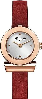 Salvatore Ferragamo Women's GANCINO Gold Quartz Watch with Leather Calfskin Strap, red, 12 (Model: SFPD00519