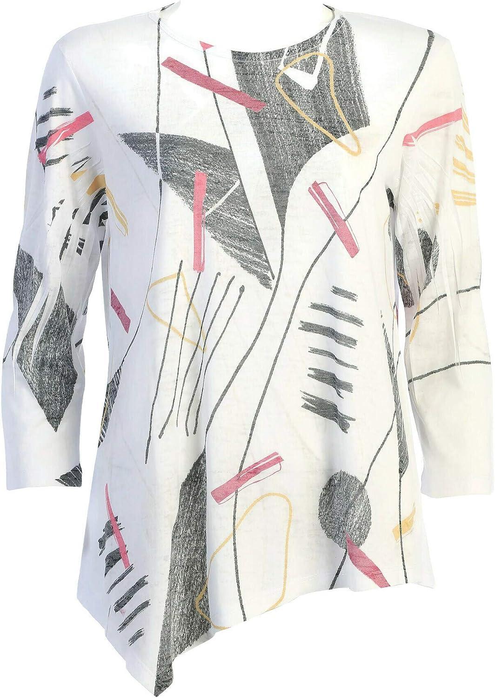 Jess & Jane Women's Episode Jersey Burnout Asymmetric Tunic Top