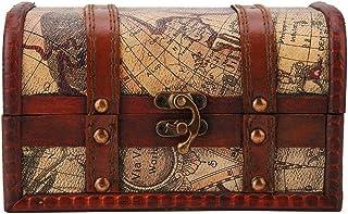 HEEPDD Boîte Rangement Vintage, boîte de Rangement de Bijoux en Bois Grand Livre de Rangement Organisateur Coffre au tréso...