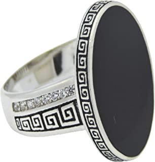 Silver Men's Ring, Royal Ovel Stone, Black, inlaid with Zirconia, Size 8