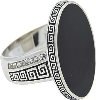 خاتم للرجال من الفضة، حجر اوفيل ملكي، اسود، مرصع باحجار زركونيا، قياس 8