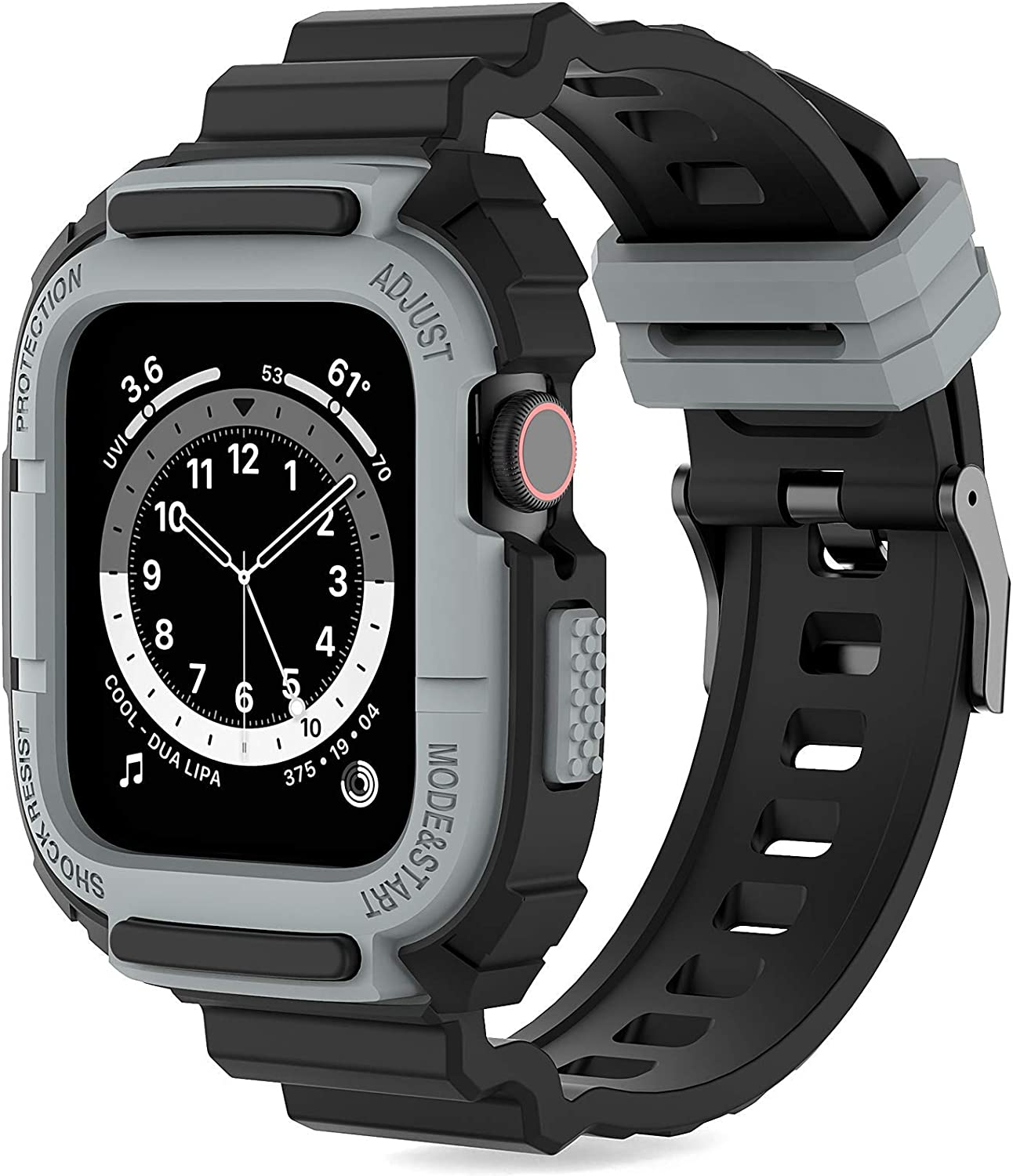 Compatible with Apple Watch Bands With Bumper Case 40mm 38mm,Loxoto Durable Sport Cases with TPU Strap Bands for iWatch Series SE/6/5/4/3/2/1 Men Sport Military Style