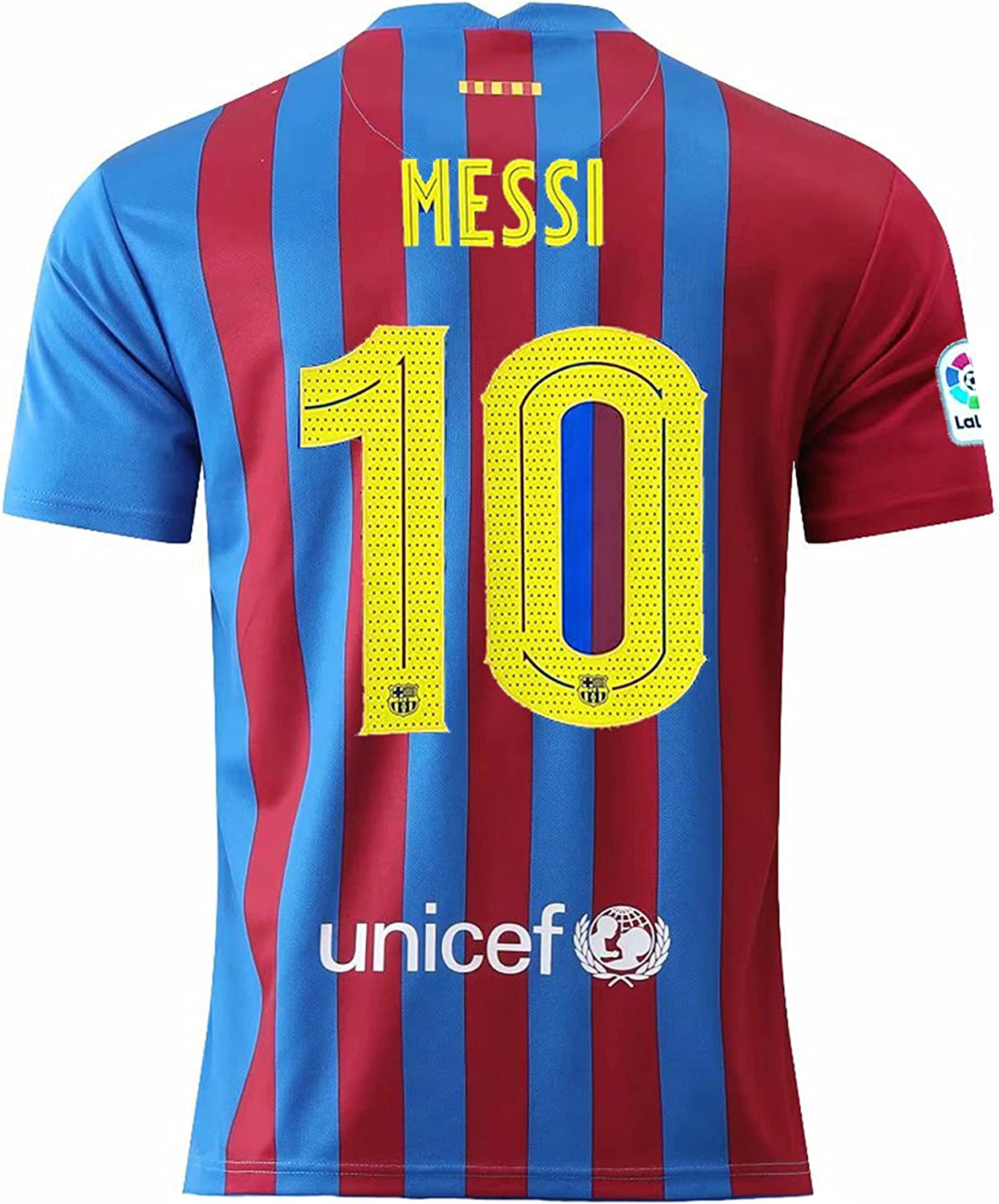 MATICSHI 2021-2022 New Season Messi #10 Mens Barcelona Home Soccer T-Shirts Jersey Color Red/Blue
