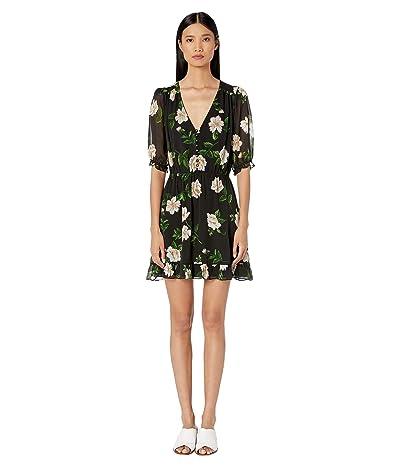 The Kooples Floral Print Short Dress (Black/Ecru) Women