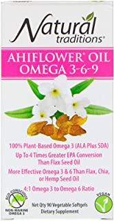 Organic Traditions Ahiflower Oil Omega 3-6-9, 90 Vegetarian Softgels