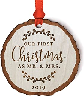 Andaz Press Wedding Couple Real Wood Rustic Farmhouse Keepsake Christmas Ornament, Engraved Wood Slab, Our First Christmas as Mr. & Mrs. 2019, Rustic Laurel Leaves, 1-Pack