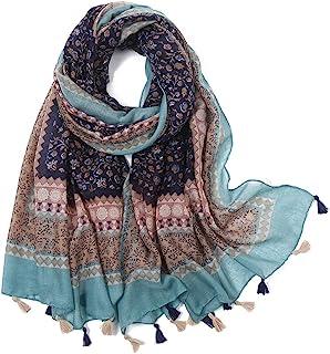 Yeieeo Boho Scarf for Women Lightweight Floral Printed Scarf Fall Winter Fashion Fringed Scarves Wraps Shawl