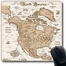 Luancrop Alfombrillas para computadoras Topografía Mapa Antiguo Vintage Norteamérica Brújula Estados Unidos Costa Oeste del Estado Diseño Mundial Alfombrilla de ratón Antideslizante para Juegos