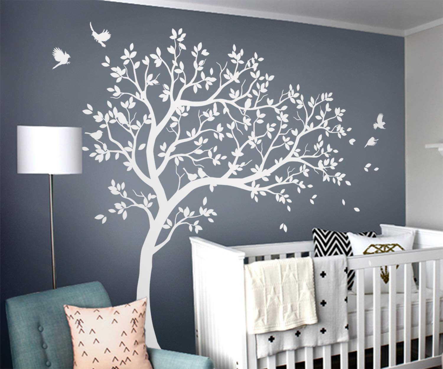 081 Tree wall decal Large tree wall decals Huge nursery wall decor wall mural decor Blossoms kids room wall decoration with cute owls