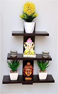 Dime Store Wall Shelf Shelves for Living Room Book Shelfs (3 Shelves) (Standard, Brown)