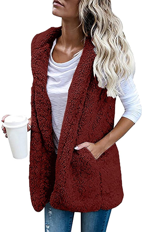 Womens Vest Winter Warm Hoodie Outwear Casual Coat Faux Zip Up Sherpa Jacket