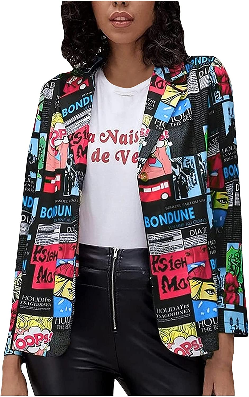 Womens Casual Blazer Fashion Leopard/Flowers Single Button Suit Coat Street Open Front Cardigan Jacket Blazers