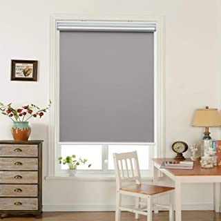 """HOMEDEMO Window Blinds and Shades Blackout Roller Shades Cordless and Room Darkening Blinds Gray 34"""" W x 72"""" H for Windows, Bedroom, Home"""