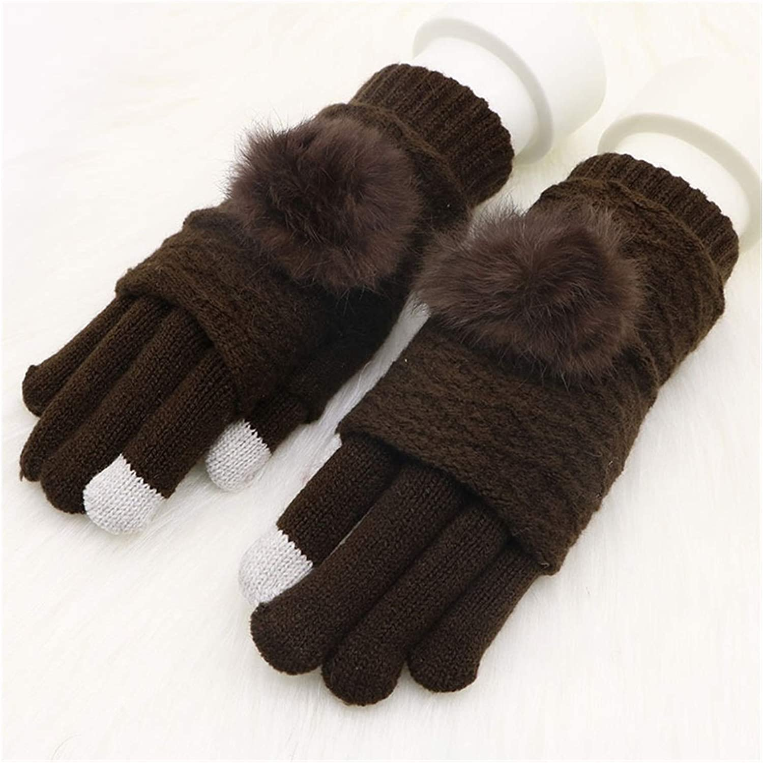 ZHIZI Warm Gloves Women's Warm Gloves Thickened Non-Slip Detachable Touch Screen Information Gloves (Color : Brown)