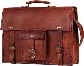 40 Cm Bolso Bandolera Laptop Bag Bolsa De Hombro Cuerpo Cruzado Grande para Mensajero Mensajeria De Cuero Piel Marron Port...