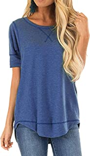 Summer Tops for Women Short Sleeve Side Split Casual Loose Tunic Top