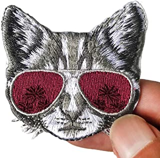 2 Pcs Cool Cat Delicate Embroidered Patches, Cute Embroidery Patches, Iron On Patches, Sew On Applique Patch,Cool Patches for Men, Women, Kids