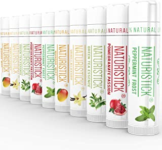All-Natural Lip Balm Gift Set by Naturistick. 10 Best Moisturizing Beeswax Chapsticks for Healing Dry, Chapped Lips - Made with Aloe Vera, Vitamin E, Coconut Oil for Men, Women and Kids. Made in USA