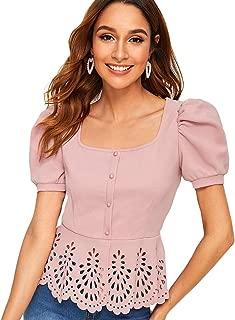 Romwe Women's Puff Sleeve Hollow Out Scalloped Hem Slim Fit Elegant Blouse