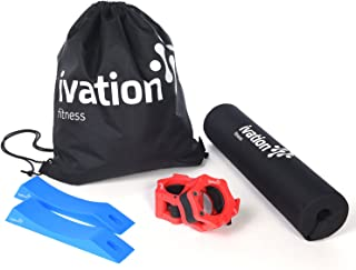 Ivation Squat Pad, Barbell Clamps & Dead lift Set – Strength Training Accessories Kit with Included Carrying Case Help You Focus on Your Physical Goals