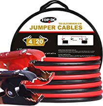 TOPDC 100% Copper Jumper Cables 4 Gauge 20 Feet 480AMP Heavy Duty Booster Cables with Carry Bag and Safety Gloves (4AWG x 20Ft)