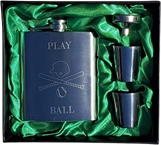 Baseball Themed Flask Gift Set - 7oz Flask Engraved with Play Ball