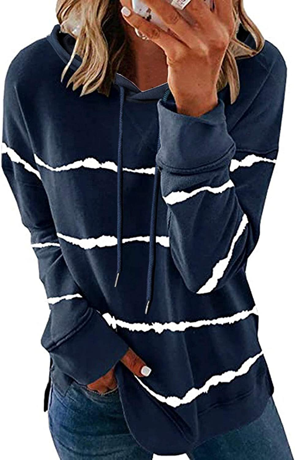 Hoodies for Women,Womens Causal Long Sleeve Stripe Printed O Neck Drawstring Oversized Pullover Loose Hooded Tops