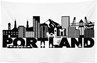 Lunarable Portland Tapestry, Famous Landmarks in Oregon State Buildings Mount Hood and Hawthorne Bridge, Fabric Wall Hanging Decor for Bedroom Living Room Dorm, 45